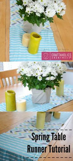 Freshen up the table for spring with this colorful and fun Spring Table Runner Tutorial! | Craftaholics Anonymous®