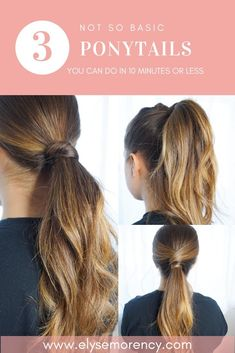 Quick And Easy Ponytails For Long Hair BEAUTY Make Up Ideas And - quick pony tail hairstyles crochet pony tail hairstyles Hairstyles For Layered Hair, Long Ponytail Hairstyles, Easy Work Hairstyles, Down Hairstyles, Hairstyle Ideas, Cute Easy Ponytails, Shoulder Hair, Shoulder Length, Short Hair Styles Easy