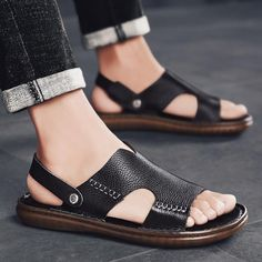 Misalwa Cow Genuine Leather Men Sandals Men Monk Footwear Casual Slipper Classic Anti-skid TPR Male Summer Shoe Large Size Outfit Accessories From Touchy Style. Mens Brown Casual Shoes, Mens Beach Shoes, Shoes Flats Sandals, Beach Sandals, Flat Shoes, Zapatillas Casual, Male Fashion Trends, Beautiful Sandals, Leather Men