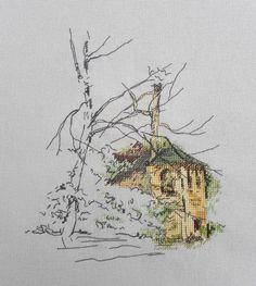 NateKoff. Авторские схемы.   ВКонтакте Cross Stitch House, Just Cross Stitch, Modern Cross Stitch, Cross Stitch Charts, Cross Stitch Patterns, Cross Stitching, Cross Stitch Embroidery, Cross Stitch Landscape, Blackwork