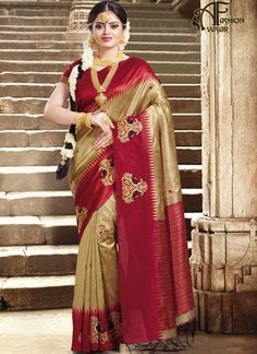 46c2c81151a789 Kindly Beige and Red Peacock Printed Silk saree Work  -Heavy zari