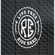 Live free ride hard Royal Enfield sticker for the side oval box