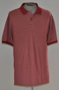 Men's Jos A Banks Red Striped 100% Cotton Golf Polo Shirt Sz XLarge Short Sleeve