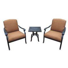 Cast Aluminum 3-Piece Patio Deep Seating Set with Sunbrella Cushions