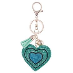 2017 New Fashion Car Play 6 Colors Full Crystal Rhinestone Heart Key Chain Gold Chain Keychain Bag Car Hanging Pendant Jewelry