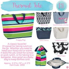 Thermal Tote by Thirty-One. Spring/Summer 2016. Click to order. Join my VIP Facebook Page at https://www.facebook.com/groups/1603655576518592/  #thirtyone #thirtyonegifts