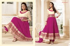 Stunningly Beautiful Pink and Off-White colored Georgette Anarkali with awesome Embroidery work en-crafted. Comes along with Matching Shantoon Bottom and Chiffon Duppatta finely Embroidered.