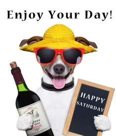 Happy Saturday with a dog wearing sunglasses and a hat and holding a bottle of wine.  pinned by www.computerfixx.biz