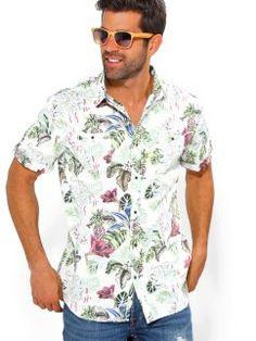 75695f9e80 Camisa de hombre estampado floral de manga corta con bolsillos