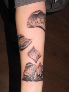Old book tattoo. I really like this tattoo. Like really *really* like it.