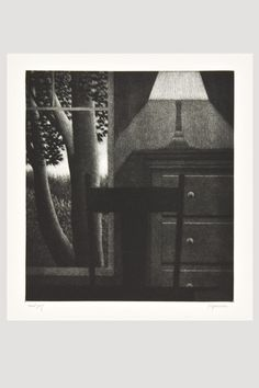 the modern archive - Window with Lamp Mezzotint by Robert Kipniss