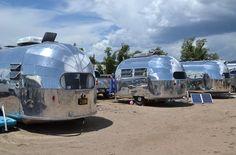 Three 1948 Airstreams at the 2014 Vintage Rally in Gunnison, Colorado.