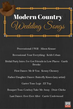 Modern Country Wedding Songs.