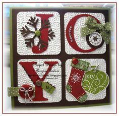 Joy Christmas card -- could use Typeset Alphabet die, Stocking Builder punch, Simple Snowflake punch, Ornament punch