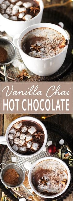 Vanilla Chai Hot Chocolate is the coziest treat! This hot chocolate is infused with all the flavors of a vanilla chai latte, making it perfect for sipping on a cold winter night. It's an easy, from scratch recipe.