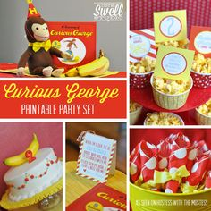 Curious George Inspired  Go Bananas  DIY Printable Party Set by oneswellstudio (as seen on Hostess with the Mostess party blog!)