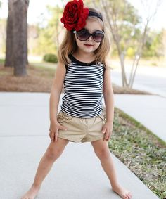 Take a look at this Black & White Stripe Ruffle Tank - Infant on zulily today!