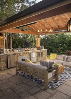 You'll love this makeover . Backyard Layout, Backyard Patio Designs, Outdoor Kitchen Patio, Outdoor Kitchen Design, Backyard Pavilion, Design Jardin, Outdoor Living Rooms, Lanai Decorating, Patio Grill