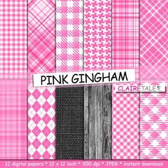 Pink gingham digital paper PINK GINGHAM with gingham by ClaireTALE, $4.80