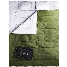 Eono Essentials Double Sleeping Bag for Camping, Backpacking, Hiking, Tent, Camper festival Outdoor Queen Size XL Two Person Sleeping Bag 32F