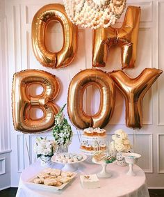 Baby boy shower deco