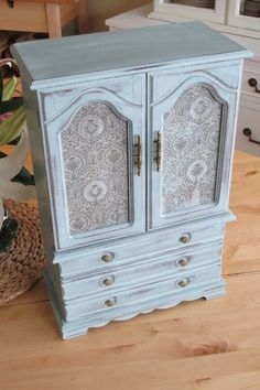 """$139. Pale Aqua Blue Jewelry Box Hand Painted Extra Large by Eweniques. Hand painted, sanded, distressed and waxed to ensure many years of enjoyment. Interior coral in good vintage condition. 18"""" Tall x 12"""" Wide x 6"""" Deep."""