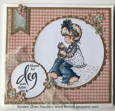 Kirstens Hobbyblogg: Bursdagskort! Sarah Kay, Penny Black, Copic Markers, Decorative Plates, Rose, Cards, Stamps, Pink, Roses