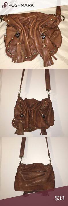 Leather purse Brown leather purse with tassels and beads Bags Shoulder Bags