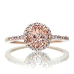 14 Karat Rose Gold Diamond Halo 6mm Round Morganite by SAMnSUE, $650.00