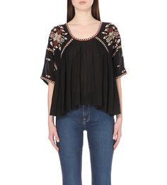 Woodstock embroidered woven top