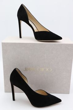 340f22ca149 NIB Jimmy Choo Sophia 100 Black Suede Pointy Toe Pumps Heels 6.5 36.5 New   675