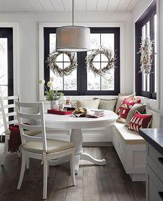 Linden Natural Pillow with Down-Alternative Insert - Home Dekor Kitchen Booths, Kitchen Benches, Kitchen Decor, Corner Bench Kitchen Table, Kitchen Banquette Ideas, Kitchen With Nook, White Round Kitchen Table, Eat In Kitchen Table, Corner Banquette