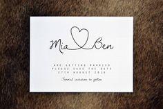 Personalised Simple Calligraphy Heart Wedding Save the Date #DIYWeddingInvitationId