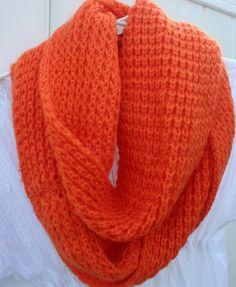 Tangerine  Circle Loop  Infinity Scarf Cozy Soft by PIYOYO on Etsy, $15.00