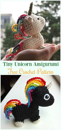 Crochet Tiny Unicorn Amigurumi Free Pattern- #Amigurumi Crochet #Unicorn; Toy Softies Patterns