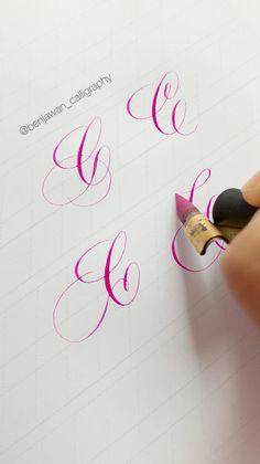 Calligraphy Fonts Alphabet, Flourish Calligraphy, Copperplate Calligraphy, Learn Calligraphy, Penmanship, Cursive, Graffiti Lettering Fonts, Tattoo Lettering Fonts, Hand Lettering Alphabet