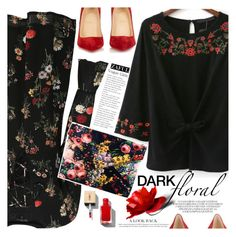 """""""In Bloom: Dark Florals"""" by vanjazivadinovic ❤ liked on Polyvore featuring Christian Louboutin, Sheinside, polyvoreeditorial and darkflorals"""