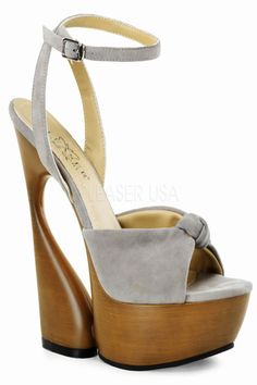 Taupe Suede Knotted Ankle Strap Sculptured Wedge Heel