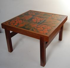 1960s Danish Trioh Square Coffee Table Rosewood & orange tiles - gorgeous