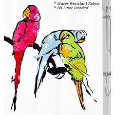 Beautiful parrots resting and enjoying their day. This fabric shower curtain is designed and produced in Germany and is machine washable. Kids Curtains, Fabric Shower Curtains, Luxury Shower Curtain, Parrots, Moose Art, Germany, Lovers, Animals, Beautiful