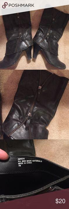 Zipper detail boot Size 7, Zippity boot with cute zipper detail. Worn a handful of times Shoes Heeled Boots