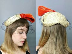 make an entrance / 1950s straw hat with statement bow and half