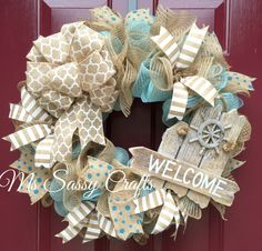 Nautical Summer Turquoise Burlap Deco Mesh Wreath with Ivory Patterned Burlap Ribbon by MsSassyCrafts on Etsy https://www.etsy.com/listing/228567528/nautical-summer-turquoise-burlap-deco