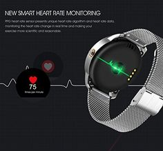 Lemonda Smart Round Sports Watch 2.5D Curved Surface Screen Heart Rate Monitor Pedometer Calorie Consumption Information Remind IP54 Waterproof Smart Watch Compatible with iPhone (Silver) 52.99  #BarometersDetection #BatteryCapacity #BluetoothSupport #CallFunctionsBluetooth #F1SmartFashionSportsWatch #FunctionKey #G-sensorSupport #HeartRateReal...