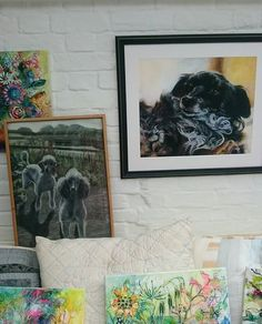 Those poodles were my first pet portrait done whilst I was at art school 30 years ago. The framed black doggy is one of my most recent. Practice practice practice