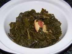 Southern Style Greens <3 Use smoked pork neck or turkey wings instead of salt pork, add beans if possible, watch the salt!