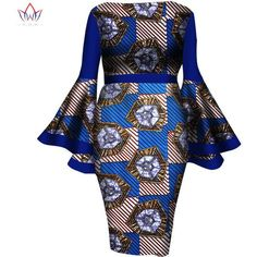 African Women Dress Summer Fashion Lady Wax Print Dresses Fitted... ($81) ❤ liked on Polyvore featuring dresses, short dresses, sexy mini dress, sexy short dresses, summer dresses and summer midi dresses
