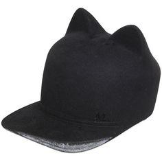 MAISON MICHEL Jamie Hand-Painted Beaver Fur Felt Hat - Black ($1,595) ❤ liked on Polyvore featuring accessories, hats, black, visor hats, black hat, maison michel hats, sun visor and black fur hat