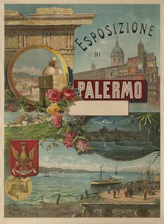 did you know that the area where Hotel Principe di Villafranca rises was the seat to the magnificent structure that hosted the Italian National Exhibition that took place in Palermo? Vintage Italian Posters, Vintage Travel Posters, Vintage Ads, Vintage Photos, Poster Vintage, Sicily Travel, Palermo Sicily, Commercial Art, Advertising Poster