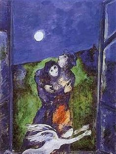 Marc Chagall - Lovers In The Moonlight